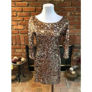 Arden B Gold Sequin Mini Dress Small S